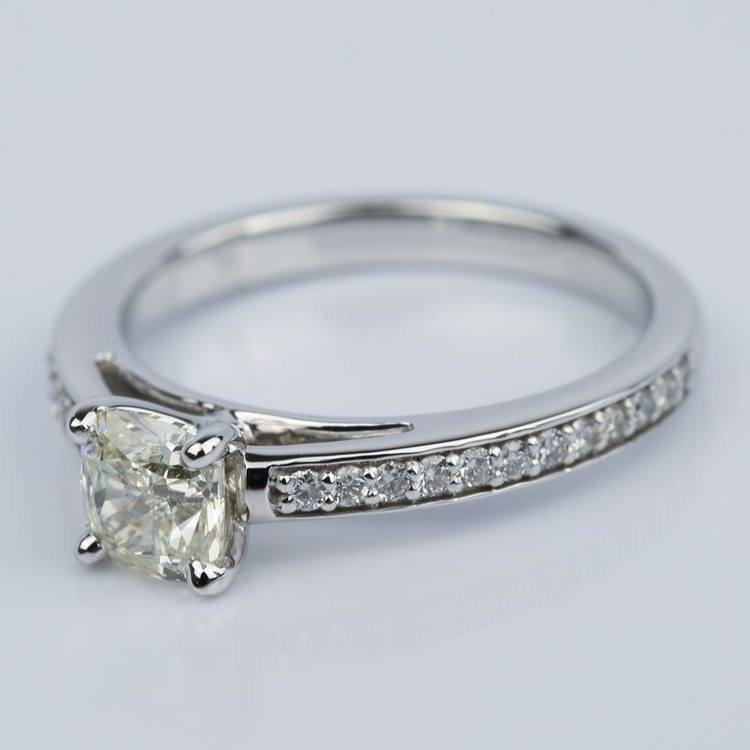 Pave Cathedral 0.92 Carat Cushion Diamond Engagement Ring angle 2