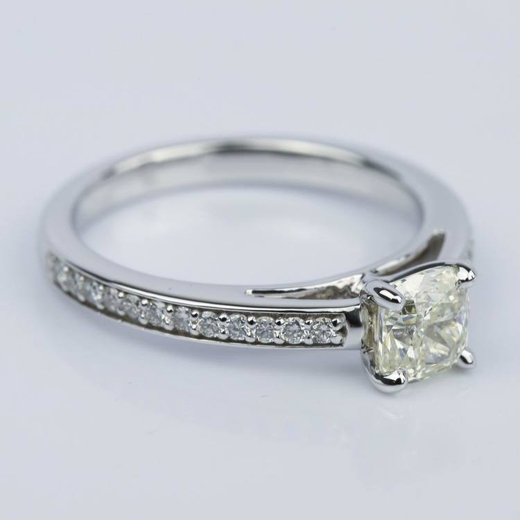 Pave Cathedral 0.92 Carat Cushion Diamond Engagement Ring angle 3