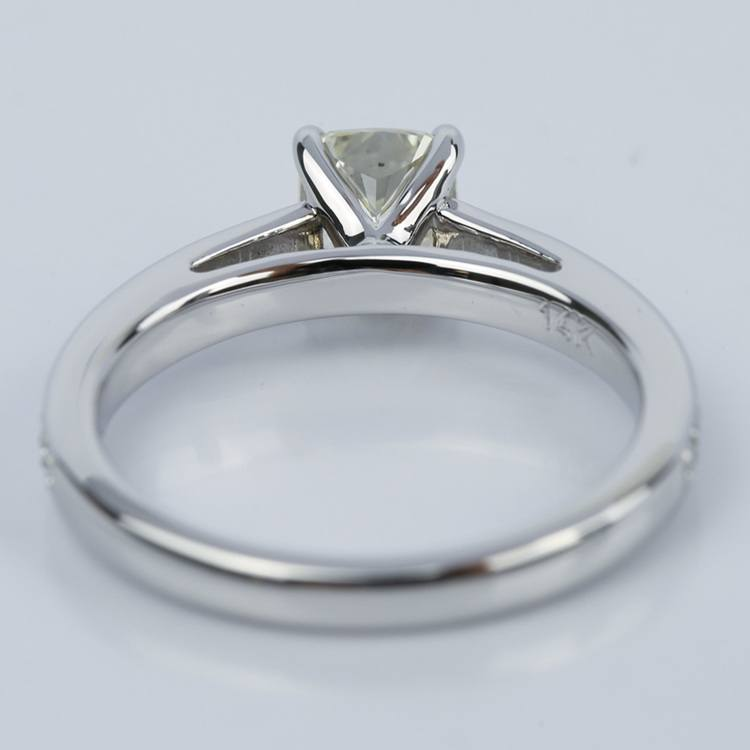 Pave Cathedral 0.92 Carat Cushion Diamond Engagement Ring angle 4