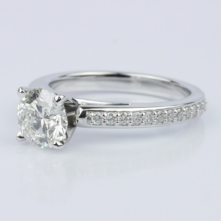 Pave Cathedral Diamond Engagement angle 2