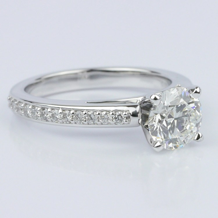 Pave Cathedral Diamond Engagement angle 3
