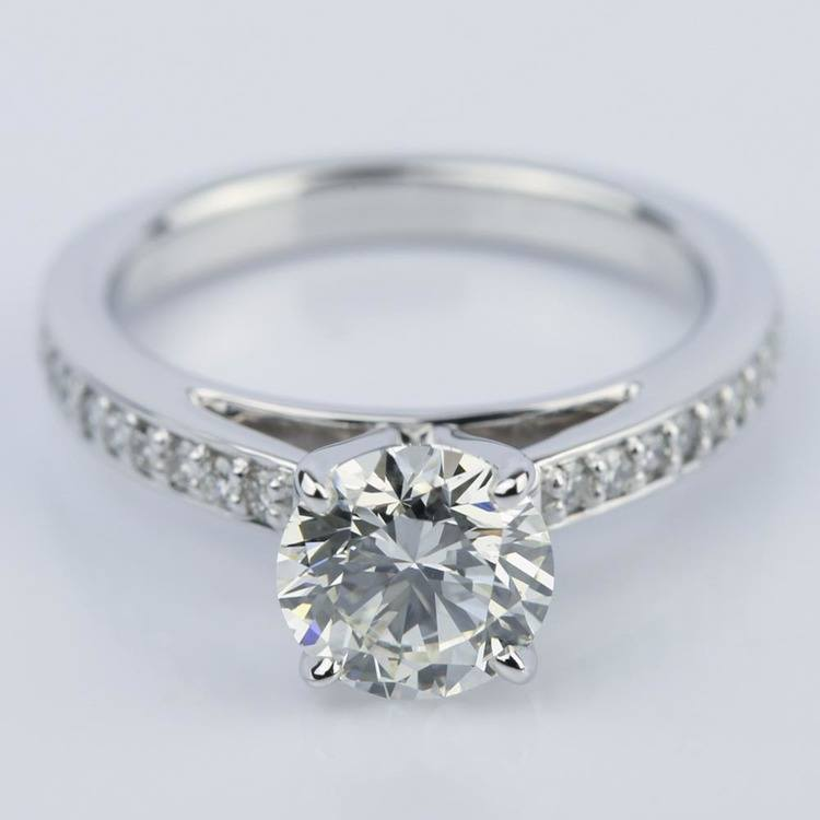 Pave Cathedral Round Cut Diamond Engagement Ring (1.31 ct.)