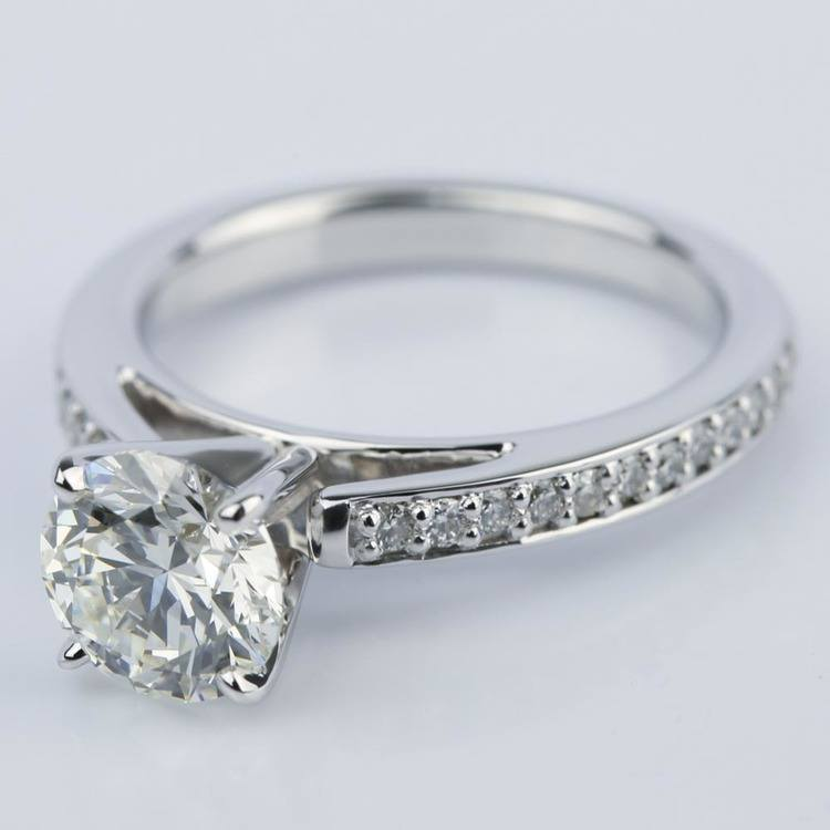 Pave Cathedral Round Cut Diamond Engagement Ring (1.31 ct.) angle 2