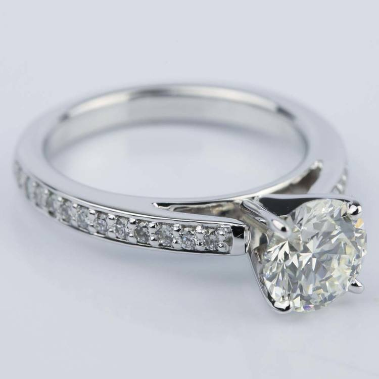 Pave Cathedral Round Cut Diamond Engagement Ring (1.31 ct.) angle 3