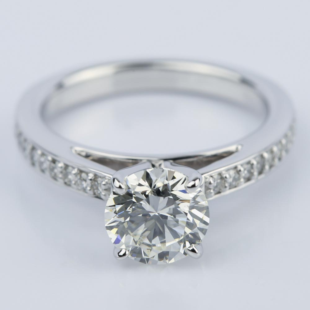 Pave Cathedral Round Cut Diamond Engagement Ring 1 31 Ct