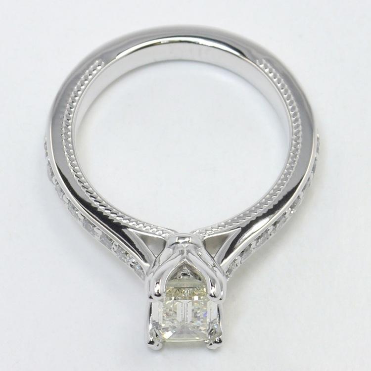 1 Carat Custom Cathedral Emerald Diamond Engagement Ring angle 4