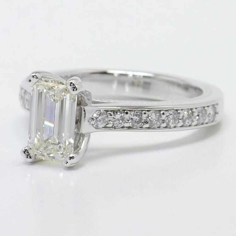 1 Carat Custom Cathedral Emerald Diamond Engagement Ring angle 2