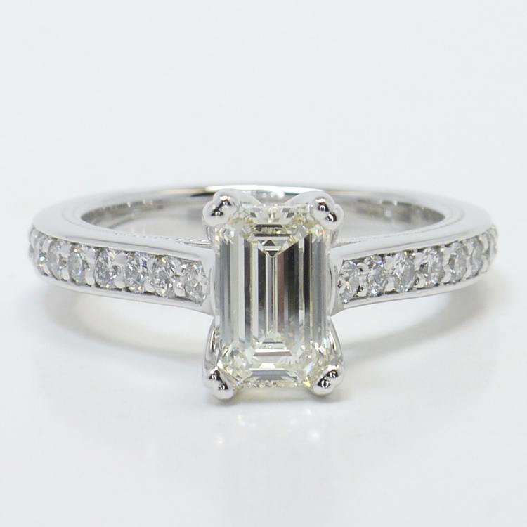 1 Carat Custom Cathedral Emerald Diamond Engagement Ring