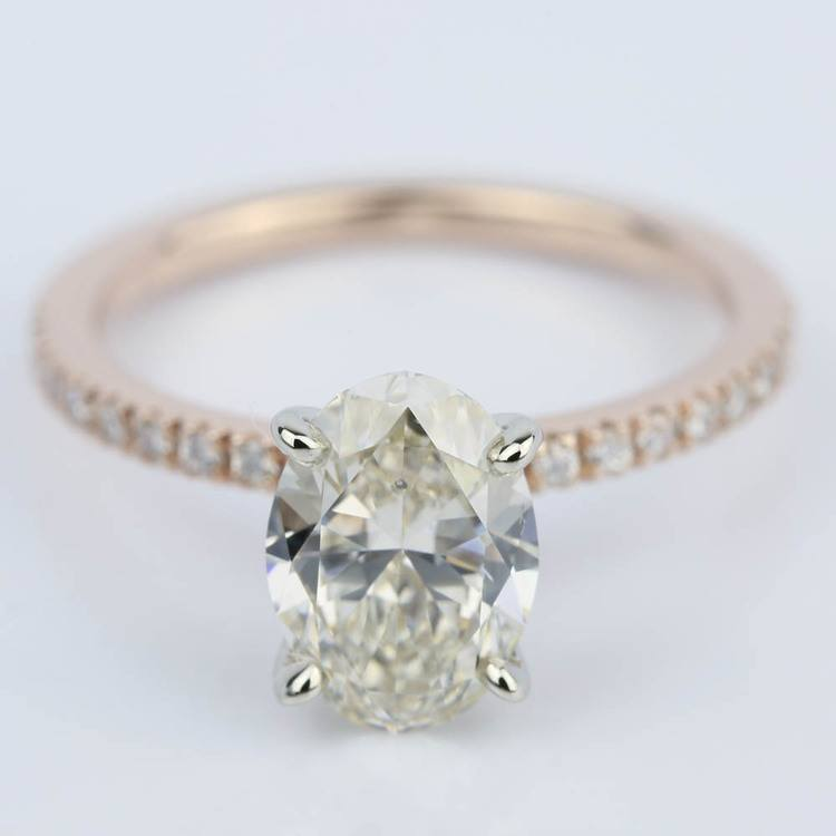 Pave Engagement Ring in Rose Gold with Oval Diamond (2 Carat)
