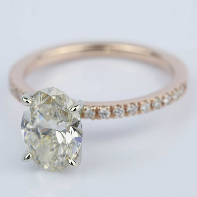 Pave Engagement Ring in Rose Gold with Oval Diamond (2 Carat) angle 2