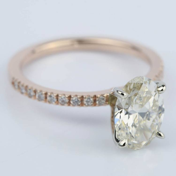 Pave Engagement Ring in Rose Gold with Oval Diamond (2 Carat) angle 3