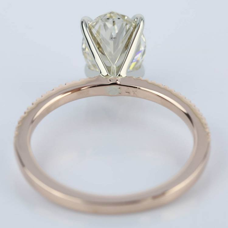 Pave Engagement Ring in Rose Gold with Oval Diamond (2 Carat) angle 4