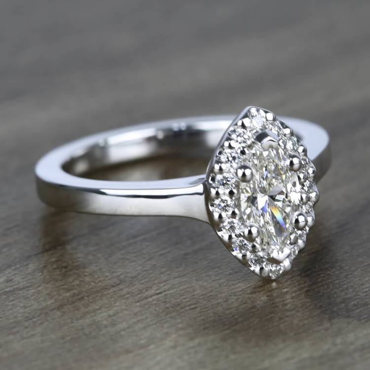 Flawless Marquise Halo Diamond Engagement Ring (0.50 ct.) angle 3