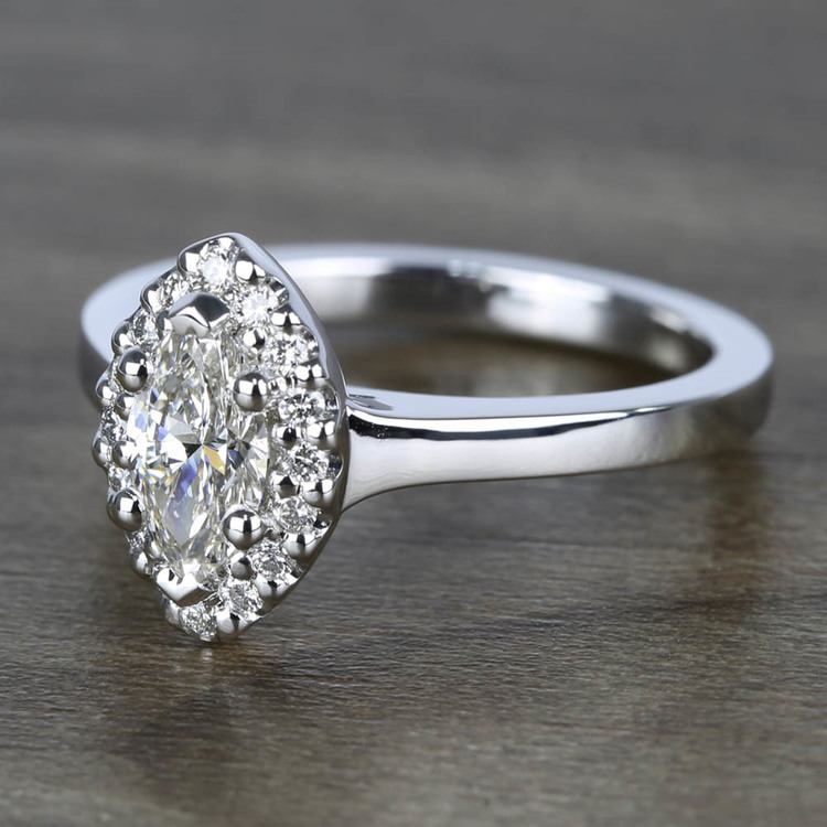 Flawless Marquise Halo Diamond Engagement Ring (0.50 ct.) angle 2