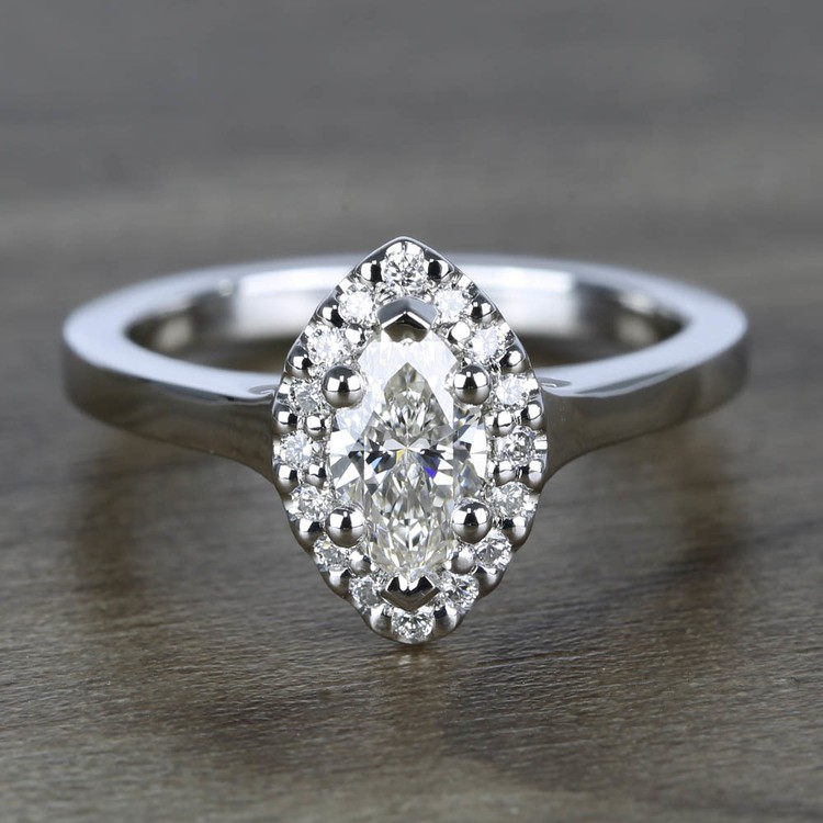 Flawless Marquise Halo Diamond Engagement Ring (0.50 ct.)