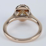 Pave Halo Oval Diamond Ring in Rose Gold (0.70 ct.) - small angle 4