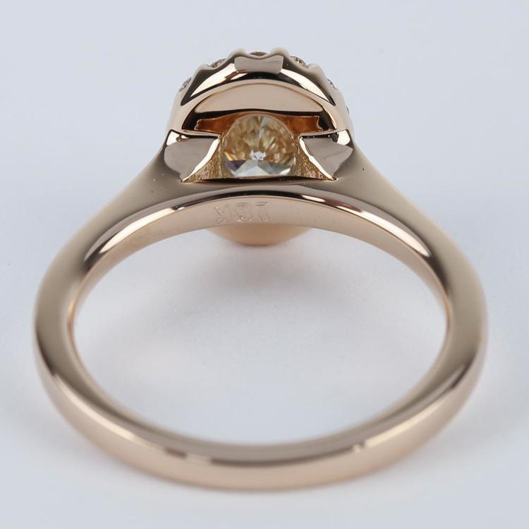 Pave Halo Oval Diamond Ring in Rose Gold (0.70 ct.) angle 4