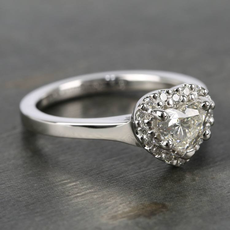 Heart Diamond Pave Halo Engagement Ring (0.72 ct.) angle 3