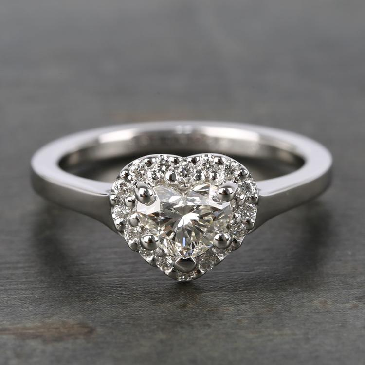 Heart Diamond Pave Halo Engagement Ring (0.72 ct.)