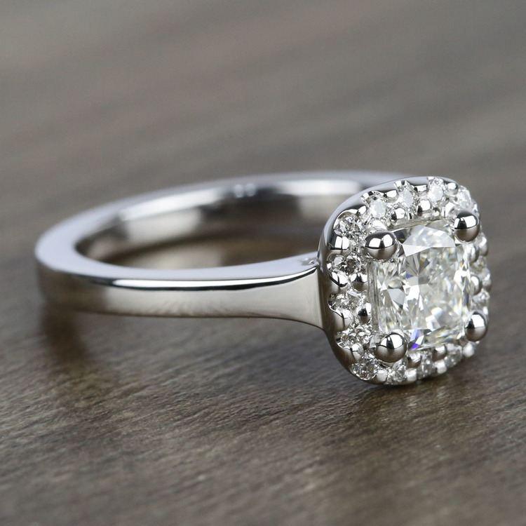 Cushion Halo Diamond Engagement Ring (0.75 Carat) angle 3