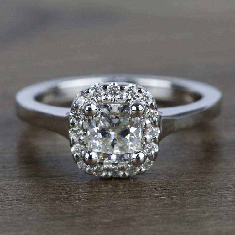 Cushion Halo Diamond Engagement Ring (0.75 Carat)