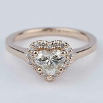 Heart Diamond Halo Engagement Ring in Rose Gold - small