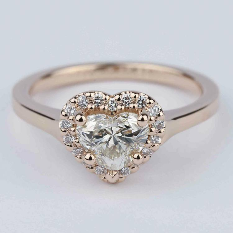 Heart Diamond Halo Engagement Ring in Rose Gold