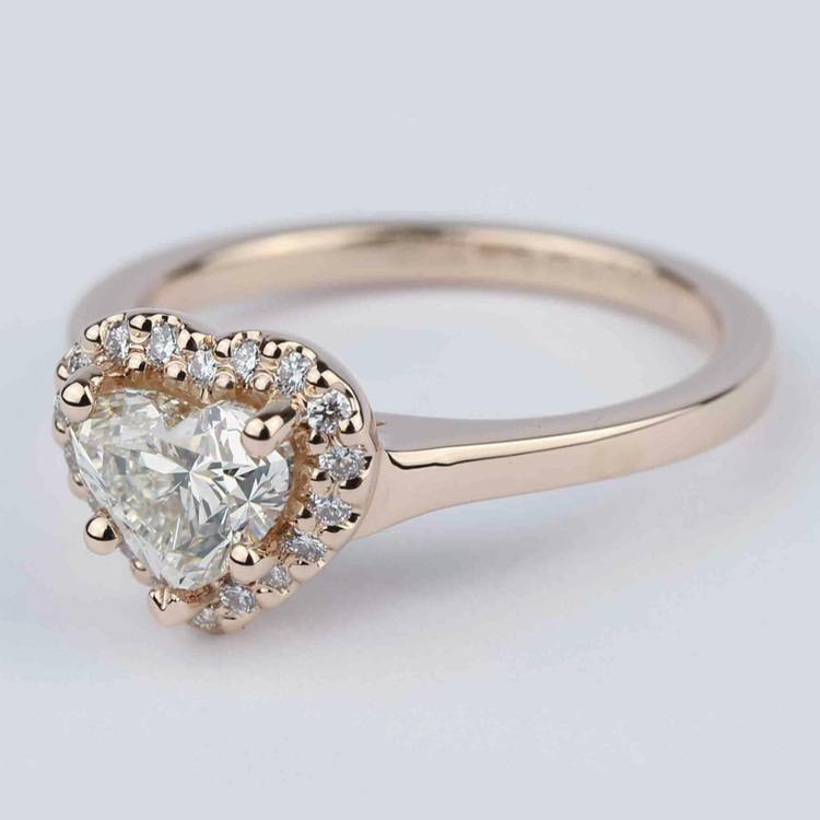 Heart Diamond Halo Engagement Ring in Rose Gold angle 2