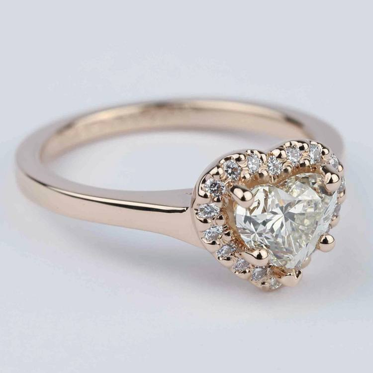 Heart Diamond Halo Engagement Ring in Rose Gold angle 3