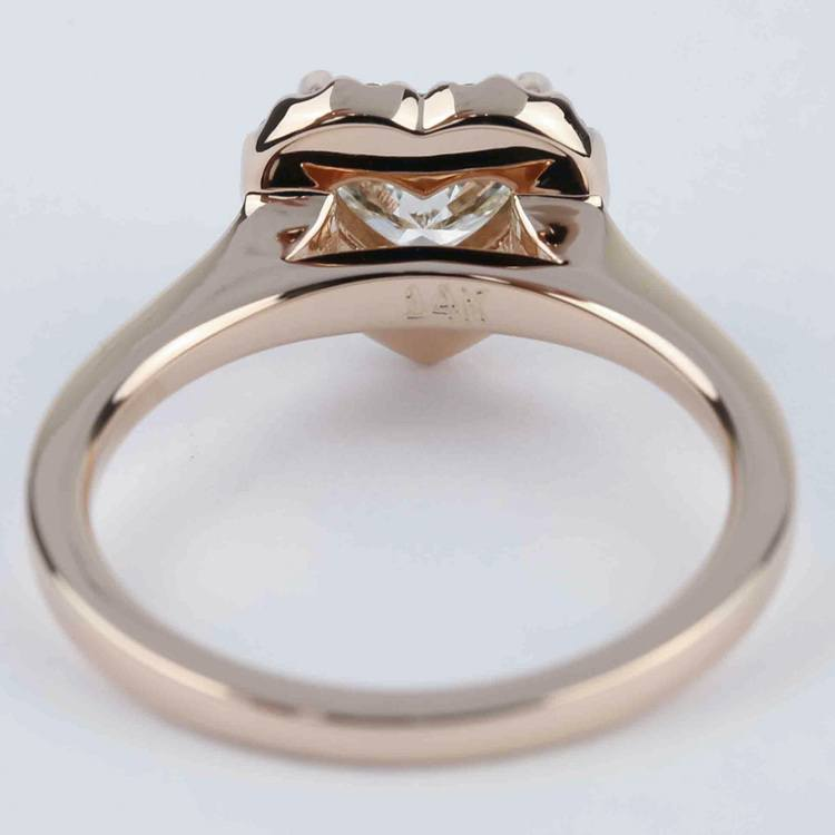 Heart Diamond Halo Engagement Ring in Rose Gold angle 4