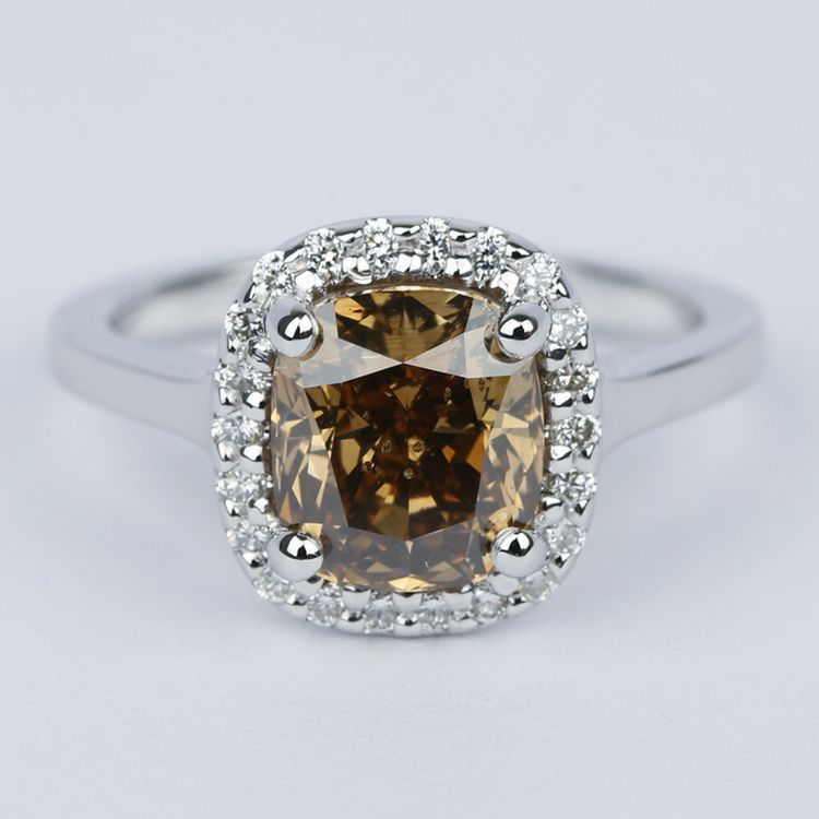 3 Carat Cognac Diamond with Pave Halo Engagement Ring