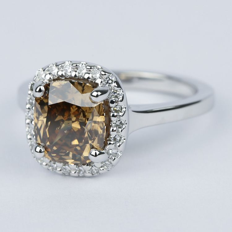 3 Carat Cognac Diamond with Pave Halo Engagement Ring angle 2