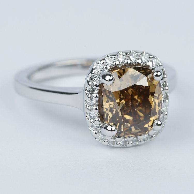 3 Carat Cognac Diamond with Pave Halo Engagement Ring angle 3