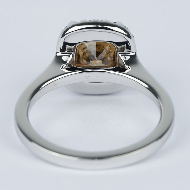 3 Carat Cognac Diamond with Pave Halo Engagement Ring angle 4