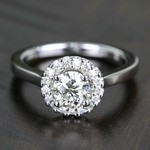Pave Halo Flawless Diamond Engagement Ring (0.71 ct.) - small