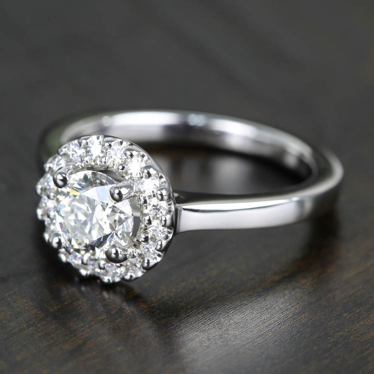 Pave Halo Flawless Diamond Engagement Ring (0.71 ct.) angle 2