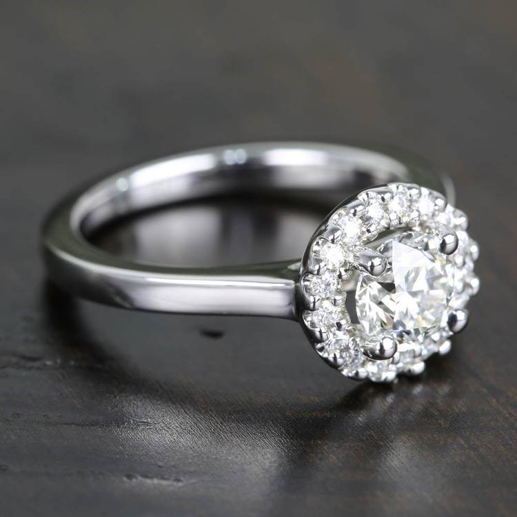 Pave Halo Flawless Diamond Engagement Ring (0.71 ct.) angle 3