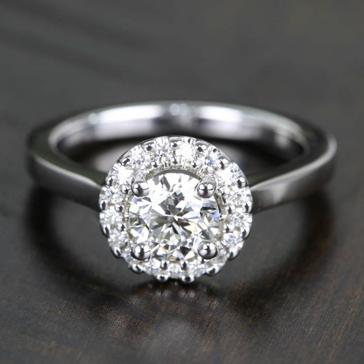 Pave Halo Flawless Diamond Engagement Ring (0.71 ct.)