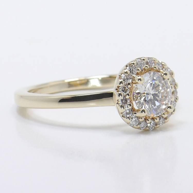 Pave Halo Diamond Engagement Ring angle 3