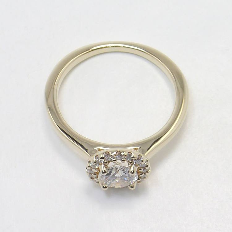 Pave Halo Diamond Engagement Ring angle 4