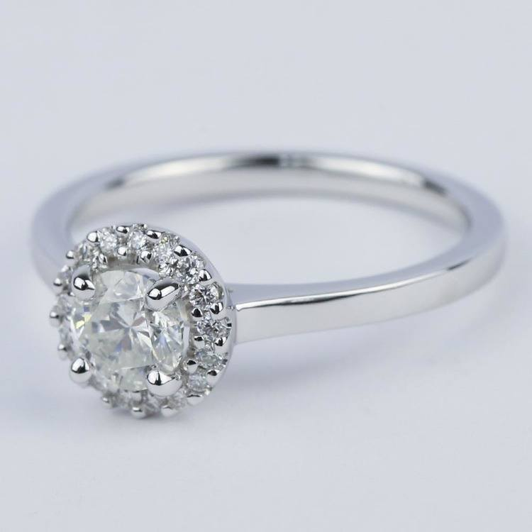 Pave Halo Diamond Engagement Ring in White Gold (0.73 ct.) angle 2