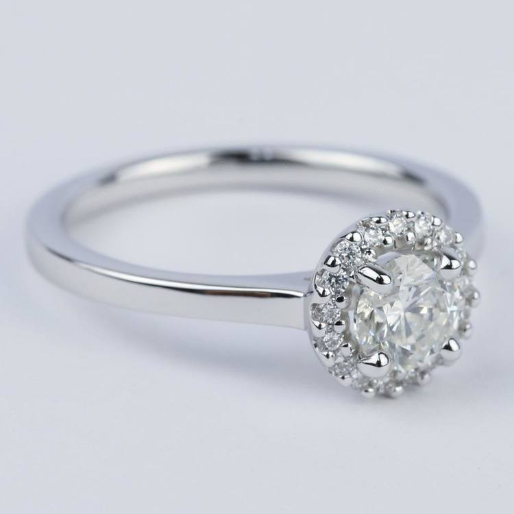 Pave Halo Diamond Engagement Ring in White Gold (0.73 ct.) angle 3