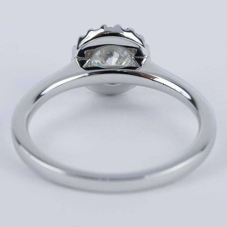 Pave Halo Diamond Engagement Ring in White Gold (0.73 ct.) angle 4