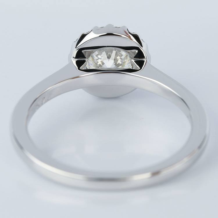 Pave Halo Diamond Engagement Ring in White Gold (0.80 ct.) angle 4