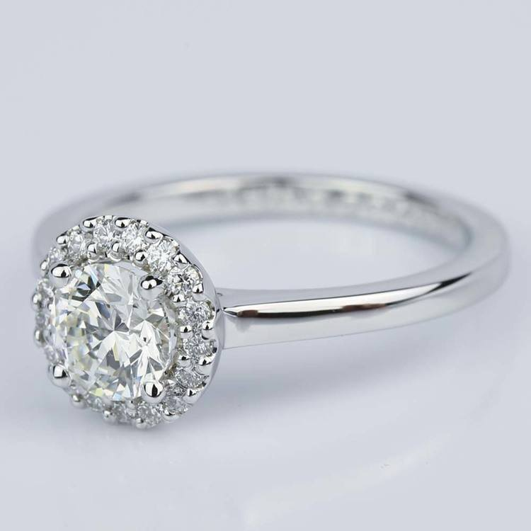 Pave Halo Diamond Engagement Ring in White Gold (0.80 ct.) angle 2