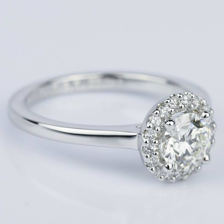 Pave Halo Diamond Engagement Ring in White Gold (0.80 ct.) angle 3