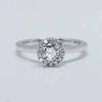 0.39 Carat Pave Halo Round Diamond Engagement Ring - small