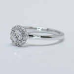 0.39 Carat Pave Halo Round Diamond Engagement Ring - small angle 2