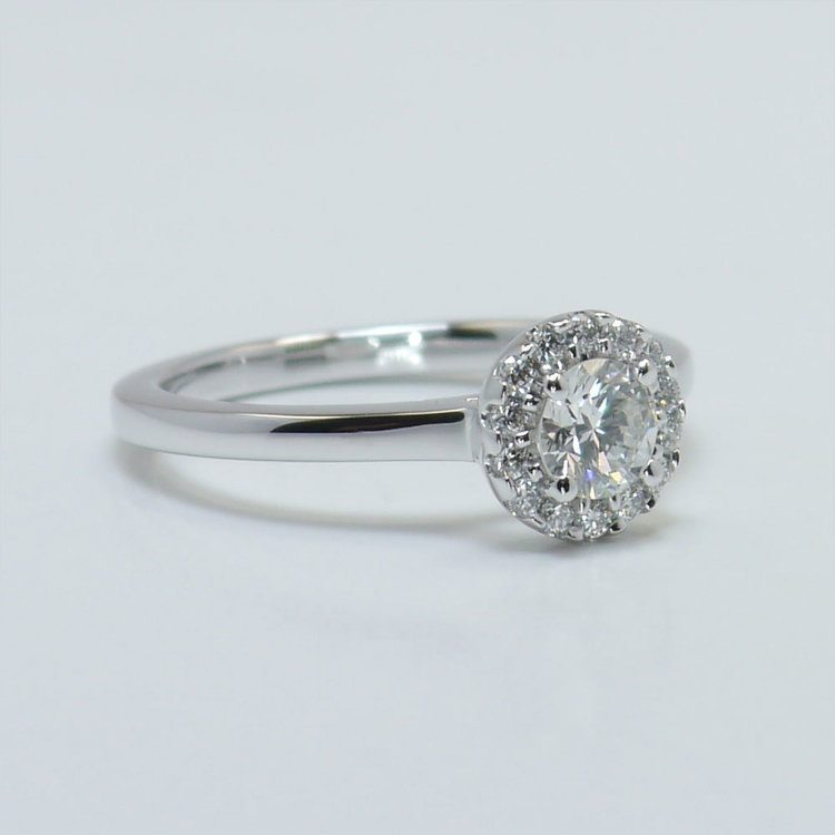 0.39 Carat Pave Halo Round Diamond Engagement Ring angle 3