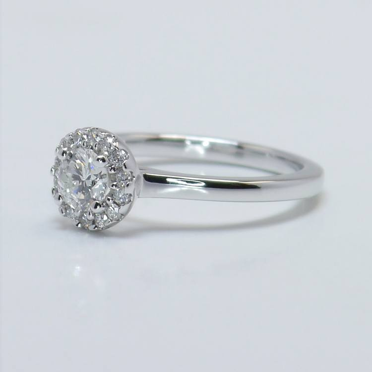 0.39 Carat Pave Halo Round Diamond Engagement Ring angle 2